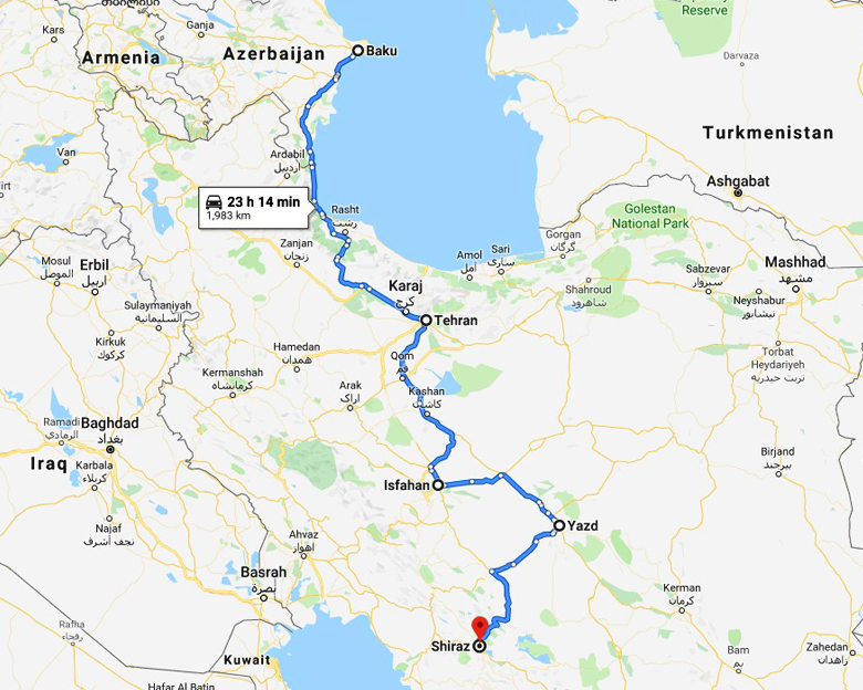 map of Azerbaijan Iran Tour- Aria Dokht Tour & travel Operator Co.
