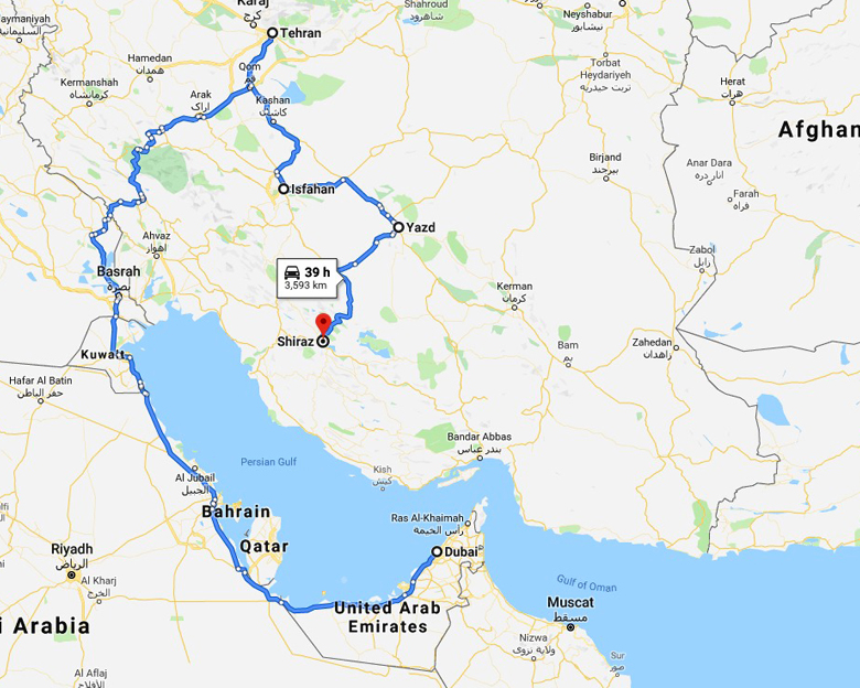map of Dubai Iran Combined Tour- Aria Dokht Tour & travel Operator Co.