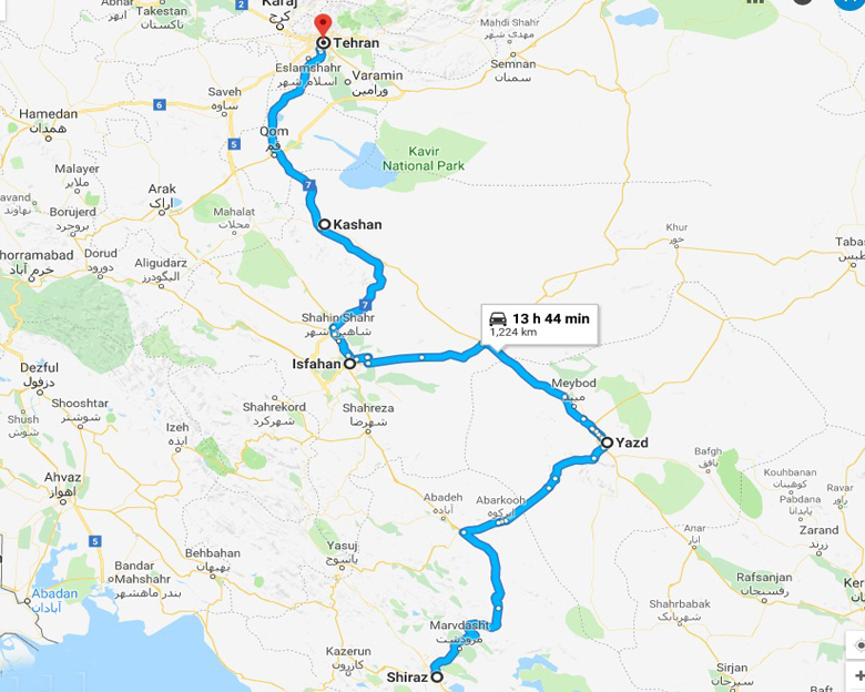 map of Myth of Persia Tour- Aria Dokht Tour & travel Operator Co.