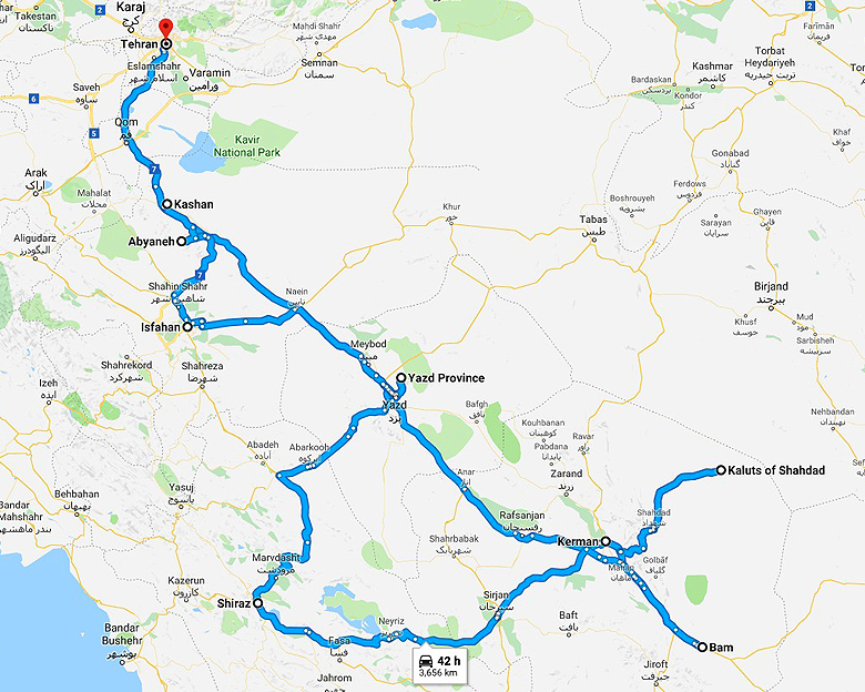map of Oasis in the desert Tour- Aria Dokht Tour & travel Operator Co.