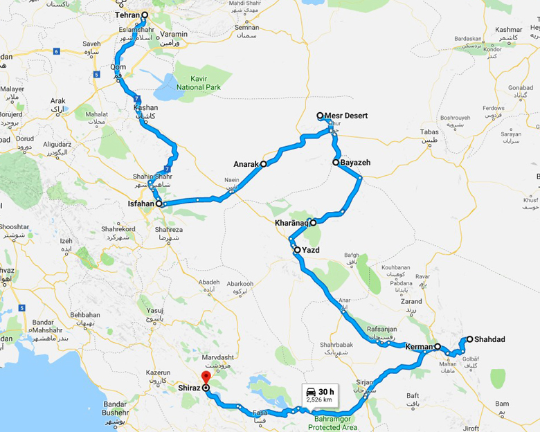 map of Persian Caravanserai Tour - Aria Dokht Tour & travel Operator Co.