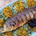 Sabzi-polo ba Mahi, Sabzi polow Mahi, Fish and herbed rice.
