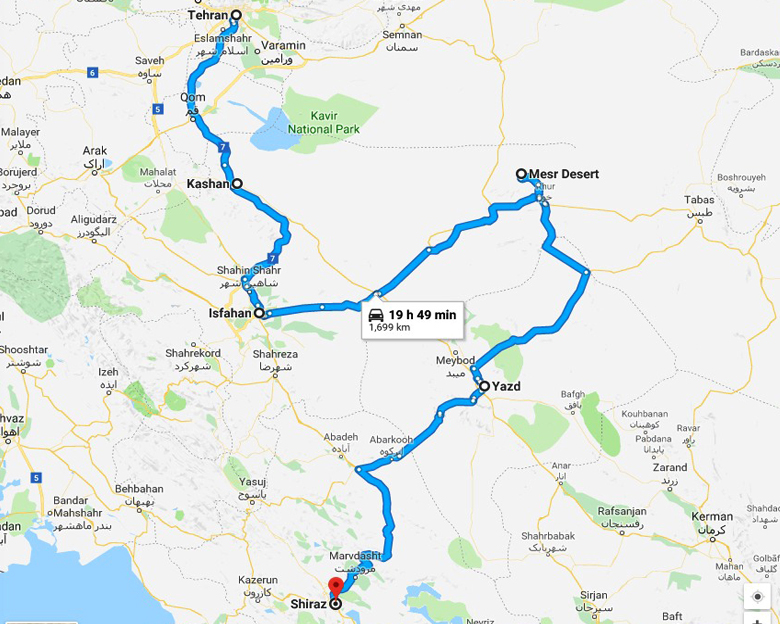 map of The Sun and the Lion Tour- Aria Dokht Tour & travel Operator Co.