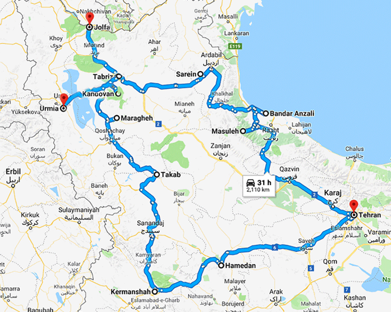 map of calm west Tour- Aria Dokht Tour & travel Operator Co.