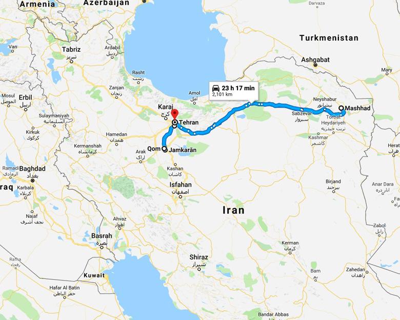 map of pilgrimage tour - Aria Dokht Tour & travel Operator Co.